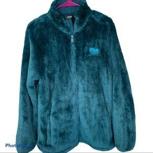 FILA Fuzzy teddy faux fur full zip jacket XL